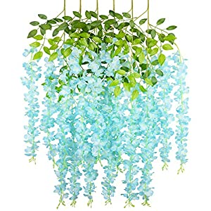 COOWAS 6 Pack 3.67 Feet Artificial Fake Wisteria Vine Ratta Hanging Garland Plants Silk Flowers for Wedding Party Outdoor Garden Office Home Kitchen Wall Decor