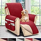 ASHLEYRIVER Reversible Recliner Chair Cover, Sofa Covers for Dogs,Sofa Slipcover,Couch Covers for 3 Cushion Couch,Couch Protector(Recliner Oversize:Burgundy/Beige)
