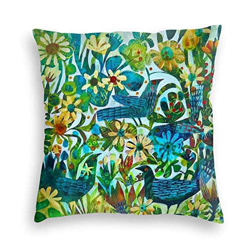 Ryuji Breathe Summer Floral Birds Velvet Throw Pillow Covers Cozy Square Throw Pillow Case Home Decor for Bed Couch Sofa Living Room Cushion Case 18'X18'