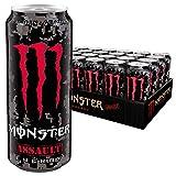 Monster Energy Assault mit kräftigem Kirsch-Geschmack im Camouflage Design, Energy Drink Palette, EINWEG Dose (24 x 500 ml)