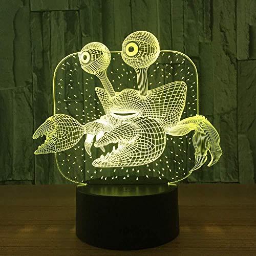 Luz nocturna 3D Luz De Noche Led crab Ilusión Lámpara de mesa Luces con para la decoración del partido Presentes de cumpleaños Con interfaz USB, cambio de color colorido