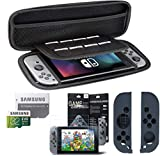 Nintendo Switch Protective Carrying Case + Samsung 32GB 80MB Micro SD + Grey Joycon Silicone Skin Cover + Screen Protector for Nintendo Switch Accessory Pack