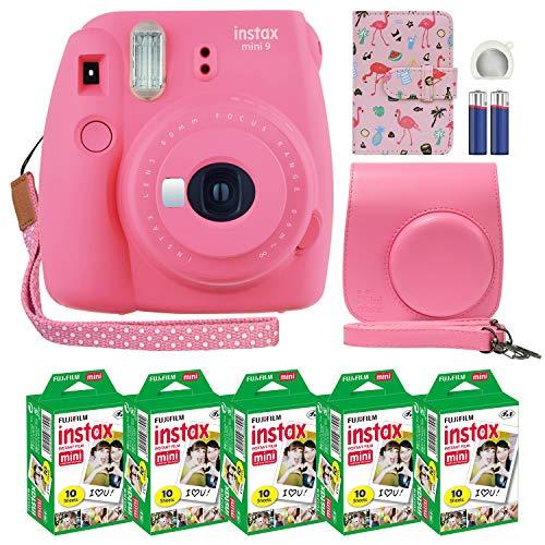 Fujifilm Instax Mini 9 Instant Camera Flamingo Pink with Custom Case + Fuji Instax Film Value Pack (50 Sheets) Flamingo Designer Photo Album for Fuji instax Mini 9 Photos.