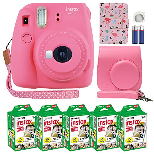 Fujifilm Instax Mini 9 Instant Camera Flamingo Pink with Custom Case + Fuji Instax Film Value Pack (50 Sheets) Flamingo Designer Photo Album for Fuji instax Mini 9 Photos.