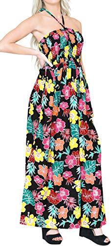 LA LEELA Scollo all'Americana Tubo Lungo Maxi Vestito Beachwear Nero_X1061 IT Taglia: 36 (2XS) - 48 (XL)