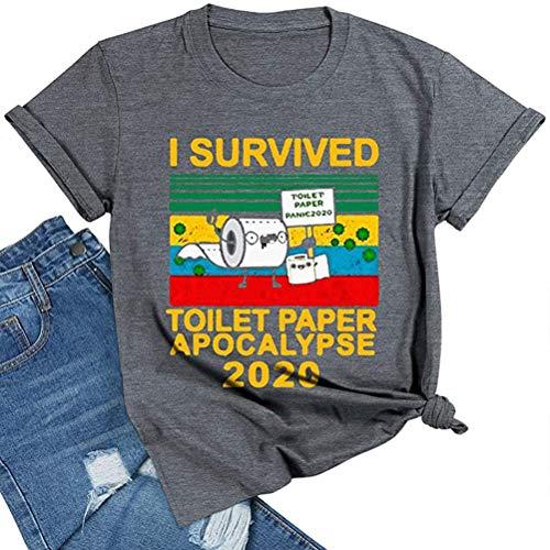 Dames I survived toilet paper Apocalypse 2020 grappige virusspecialistisch T-shirt korte mouwen ronde hals tops thees voor mannen vrouwen