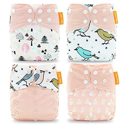 Wenosda 4PCS Baby Taschenwindeln Stoffwindel Waschbare wiederverwendbare Windeln Legen Sie eine All-in-One-Taschenwindel für die meisten Babys und Kleinkinder ein (Hellrosa + Vogel)
