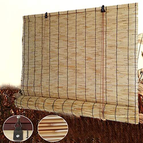 KDDEON Persianas de Caña Tejidas a Mano Naturales,Cortina de Paja para El Hogar,Persianas Enrollables Sombreado Ventilación,Cortina de Partición de Elevación,Personalizable (90x100cm/36x39in)
