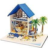 TGhosts Miniatura casa de muñecas, Bricolaje de Madera casa de muñecas en Miniatura Artesanía Regalo de cumpleaños de Navidad mar Egeo Modelo Music Box Set de Juego for niños y Adultos Kit-Griego