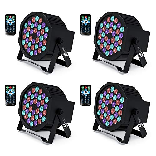 Missyee UP Lights, 36 X 1W RGB LED DJ Lights Sound Activated Stage Lights Package with Remote Compatible with DMX-512 Controller, DJ Lights for Wedding Birthday Party Club (4 Pcs)