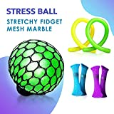 Stress Ball + Mesh Toys Set Stress Relief Toys Squishy Ball Toys for Kids Novelty Toys Boys & Girls Fidget Sensory Toys for Children Stretch Glitter Color Anti Stress Upgraded Grape Slime DNA Ball