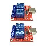 B Blesiya - 2 módulos de relé de 2 canales, placa de control USB, tarjeta de relé, con AC 250 V 10 A, DC 30 V 10 A, capacidad de contacto de relé