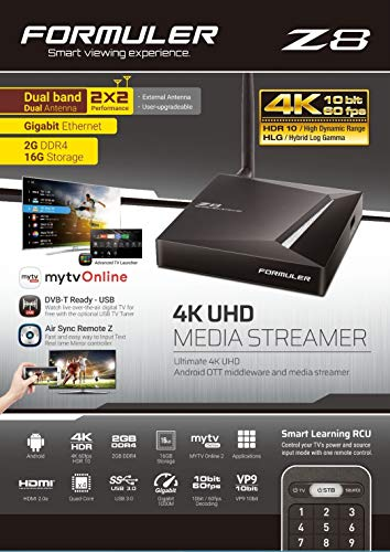 Formuler Z8 5G 4K UHD IPTV Android 7.0 Nougat Player H.265 HEVC, 16GB Flash, 2GB DDR4, Stalker, MYTV 2, Quad-Core, HDMI 2.0a, 2.4/5GHz WLAN, Gigabitlan Schwarz