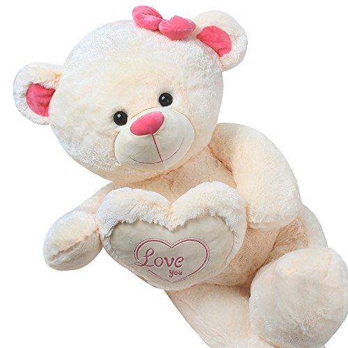 TE-Trend XXL Riesen Teddybär Teddy Riesen Kuscheltier Plüsch Herz Kissen Bär Love You 130 cm Groß Creme Beige