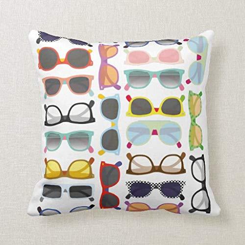 Tian huan88 zonnebrillen patroon Hipster Summer Canvas decoratieve vierkante wegkussens kussensloop voor bank Bedroom Car 18 x 18 inch 45 x 45 cm