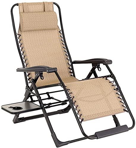 TANKKWEQ Tumbonas de Sol reclinable Silla de jardín Plegable Cero sillas de Gravedad Sunbara Ajustable con reposacabezas y Bandeja de Utilidad Sling Recliner Teslin Tejido para el Patio al Aire Libre