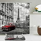 2pcs / Set patrón de la Torre EiffelLandscape Architecture Shower Curtain Set Waterproof +Non-Slip Mat Rug Home Decor-180cm W X 180cm H