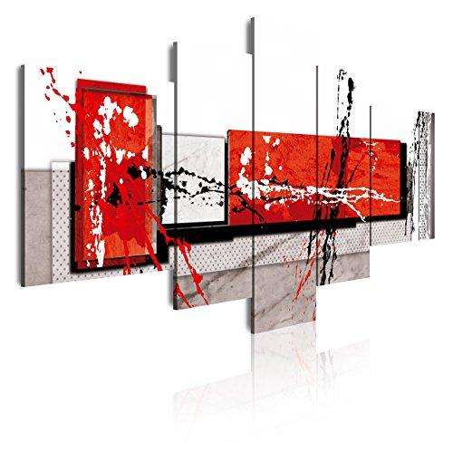 DekoArte 89 - Cuadros Modernos Impresión de Imagen Artística Digitalizada | Lienzo Decorativo Para Tu Salón o Dormitorio | Estilo Abstracto Moderno Colores Gris Rojo Blanco | 5 Piezas 180 x 85 cm XXL