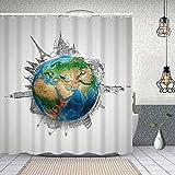 Duschvorhang,Globus des Planeten Erde Realistische Kontinente Geographie Thema Bleistiftskizze,Enthält 12 Duschvorhanghaken waschbar,Wasserdicht Bad Vorhang für Badezimmer Badewanne 150X180cm
