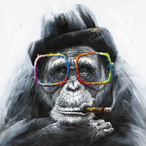 Meubletmoi - Cuadro decorativo sobre lienzo multicolor cuadrado con mono, diseño de mono, multicolor