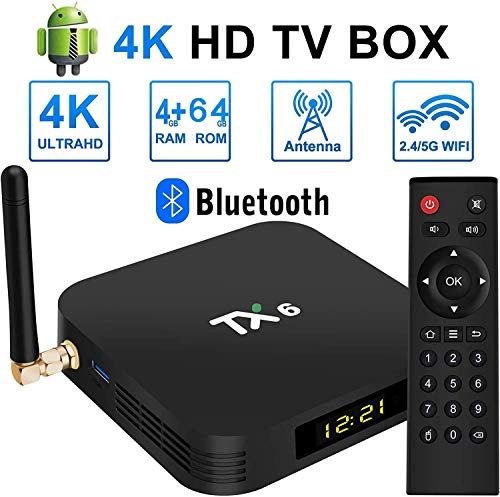 Android 9.0 [4G + 64G] TV-Box Bluetooth 4.0 TX6 H6 Quad-Core 64-Bit Cortex-A53 USB 3.0-Box Android TV LAN100M Wi-FI 2.4G / 5G Box TV 4K Android TV