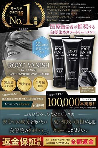 綺和美[KIWABI]RootVanish白髪染め(ダークブラウン)ヘアカラートリートメント女性用[100%天然成分/無添加22種類の植物エキス配合]