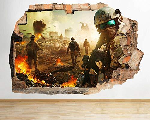 Adhesivo decorativo para pared, diseño de soldados de guerra con armas aplastadas