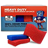 STK Heavy Duty Silicone Scrubber S-Sponges (10 Pack) - Modern Kitchen Sponges - Kitchen and Dish Scrubber - Zero Smell Technology - Silicone Sponge - 10x More Durable