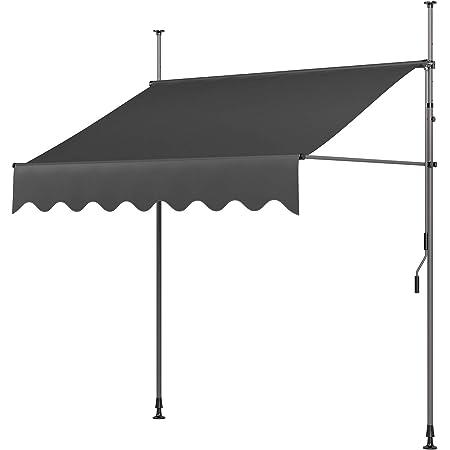 MVPower Tenda da Sole 200×120×200-300cm Parasole Avvolgibile a Barra Quadra con Gambe Grigio per per Esterno, Giardino, Balcone Terrazza