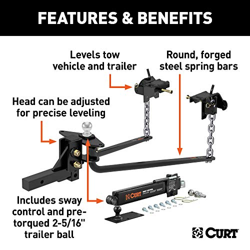 CURT 17063 MV Round Bar Weight Distribution Hitch with Sway Control, Up to 14K, 2-In Shank, 2-5/16-Inch Ball