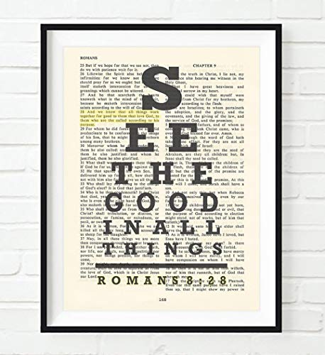 See the Good in All Things, All Things Work for Good, Romans 8:28 Eye Chart Christian Unframed Art Print, Vintage Bible Verse Scripture Wall and Home Decor Poster, Inspirational Gift, 8x10 Inches
