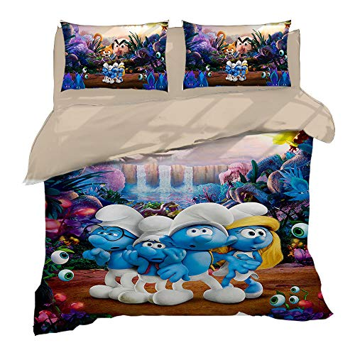 SK-LBB Bedding Set 3D Cartoon Boy and Girl Home Bedroom, The Smurfs Duvet Cover Set, Easy-to-clean Polyester Three-piece Duvet Cover and Pillowcase (01,single 140X210CM)