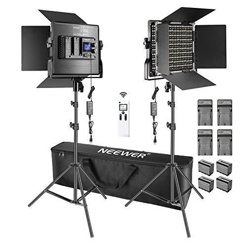 Neewer 2pz Luce 660 LED 2,4G Aggiornata, Kit d'Illuminazione per Fotografia – 45W CRI97+ 3200-5600K Luce LED con 2,4G Telecomando, LCD Display, 6600mAh Batterie, Caricatori & Borsa di Trasporto