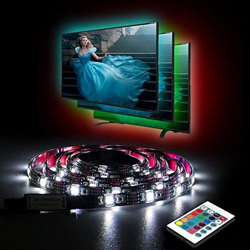 Ruban LED USB pour TV Aocerbek Eclairage Bande LED TV Lumiere Imperméable Flexible Rétro-éclairage, Lampe à Rayons LED Multicolores avec Télécommande pour HDTV, PC, Aquarium- 1metre