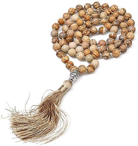 GIOAMH 108 piedra natural anudada hecha a mano con cuentas de Buda colgante de cabeza collar amuleto Yoga bendición meditación ropa joyería
