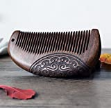 MINGZE Pocket Peine de madera, Peine del pelo, peine natural antiestático del pelo de madera del sándalo, peine de sándalo tallado de doble cara (12-1)