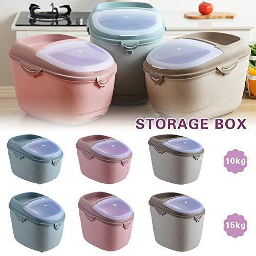 Vochtbestendige muesli-opbergdoos, grote capaciteit, kunststof verzegelde containers met deksel, dispenser, bewaarkoffer voor rijst gedroogde levensmiddelen (10 kg/15 kg)