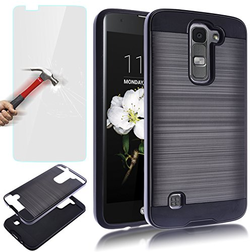 AUU LG K7 Case, LG Tribute 5 Case, Dual Layer Slim Brushed Metal Texture Full Body Impact Resistant Shockproof Heavy Duty Cover Shell for LG K7 Tribute 5 Black +Tempered Glass Screen Protector