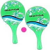 Promobo - Set Duo 2 Raquettes De Plage Beach Ball en Bois avec Balle Vert