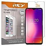 REY 3X Protector de Pantalla para UMIDIGI One MAX - UMIDIGI Power, Cristal Vidrio Templado Premium
