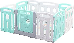 Relaxbx Baby Fence Plastic Activity Panel Including Game Pad Children Activity Center Safe Play Fence Baby Fence Play Area