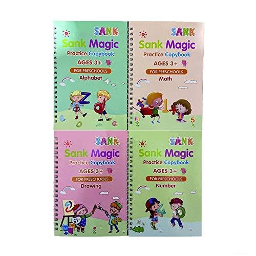 Las pegatinas de escritura mágica en inglés para niños ayudan a los niños a aprender libros Cuaderno de caligrafía de surco reutilizable para educación preescolar en el hogar del estudiante (Suit A)