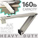 Universal Window Air Conditioner Bracket - 1pc Heavy-Duty Window AC Support - Support Air Conditioner Up to 160 lbs. - For 12000 BTU AC to 20000 BTU AC Units (HD 1PC ACB) (1, HEAVY DUTY- ONE ARM)