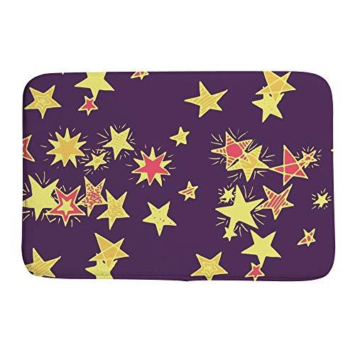 Tapete de banheiro absorvente tapete de porta, fundo de rabiscos com estrelas, tapete de banheiro antiderrapante, lama caçador de sujeira entrada interno/externo 78,7 x 50,8 cm