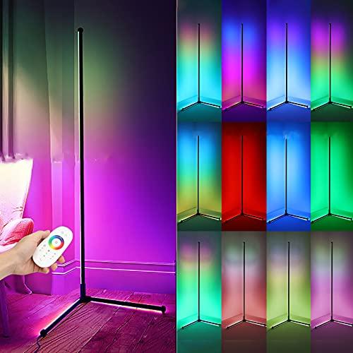 LED Lámpara Pie Salon RGB Moderna Luz De Piso De Esquina Regulable con Control Remoto Lámpara De Lectura para Estudio Restaurante Habitación De Niños Luz Ambiental Vistoso