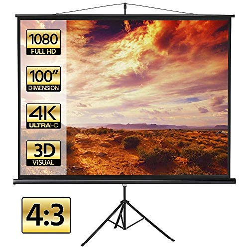 Yaheetech 100in Portable Projection Projector Screen HD 4/3 Projection Pull Up Foldable Tripod Stand Indoor Outdoor Home Theater Cinema Party Office Presentation (Renewed)