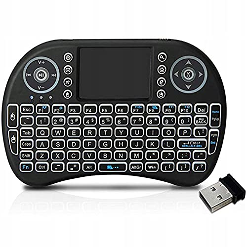 MEECOSTE Backlit Mini Keyboard Touchpad Mouse, Mini Wireless Keyboard with Touchpad and Multimedia Keys for Android TV Box Smart TV HTPC PS3 Smart Phone Tablet Mac Linux Windows OS