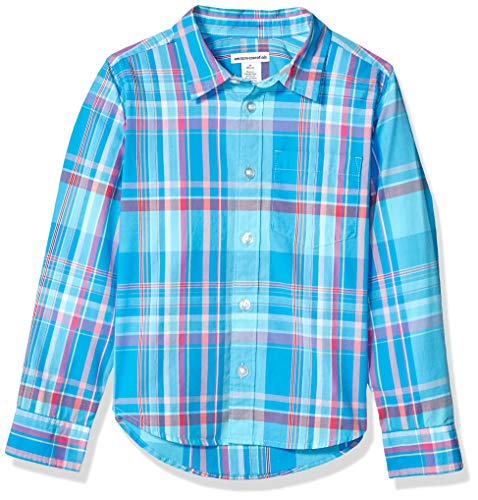 Amazon Essentials Jungen Langarmshirt Poplin/Chambray, Madras Blue, US XS (EU 104-110 CM)