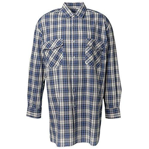Planam flanel hemd2000 maat 41/42, L, blauw geruit, 440041 41-42 blauw geruit