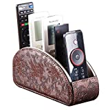 All-in-One Leather Brown TV Remote Holder for Remote Conrtols with 5 Compartments Nightstand Desktop Media Player Remote Caddy Storage Box Organizer Tray for Mobile Office Stationery Phone Controller